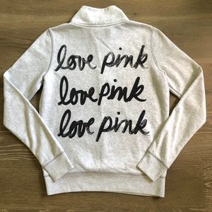 VS Pink Triple Love Pink Graphic Pullover Sz XS